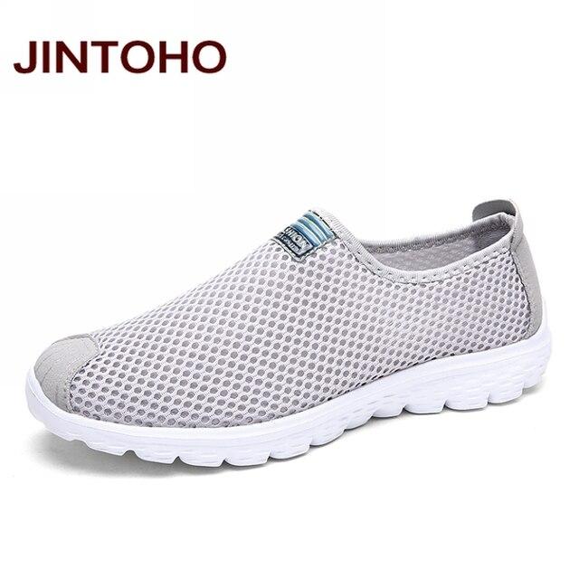 JINTOHO יוניסקס קיץ רשת לנשימה גברים נעלי גברים דירות אופנה מזדמנים זכר נעלי מותג מעצב גברים לופרס
