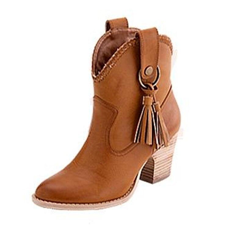 Hiver femmes Western Cowboy neige cheville Bottes Bout rond Chevalier moyen talon Pu En Cuir chaud bottes Chaussures Femmes Plus La Taille 34-46