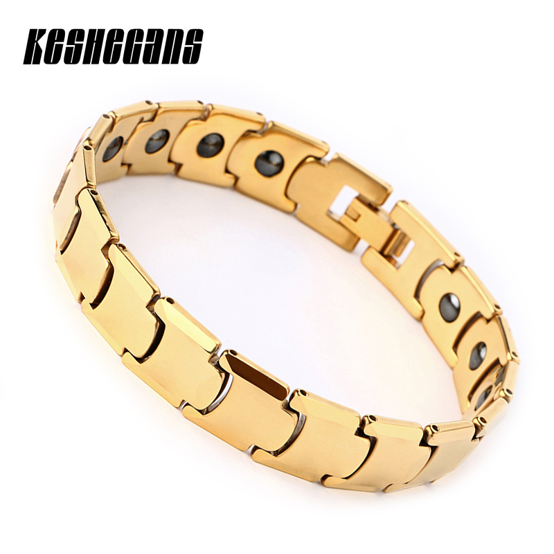 New Healthy Magnetic Tungsten Bracelet 12mm Wide Therapy Magnet For Men Women 20cm Gold Energy Bracelet Gift Fashion Jewelry цены