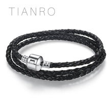 TIANRO leather braided rope diy base chain multi-color and circle optional ladies beaded bracelet can be customized to any size