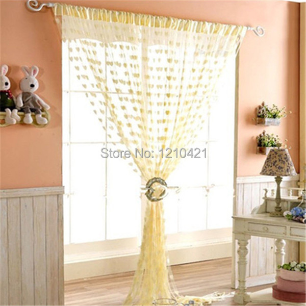 2014 New Romantic Love Peach Living Room String Curtain Drape High grade decorative encryption Cutain forHome Decor 100x200cm