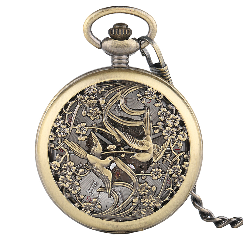 Unisex Vintage Phoenix Mechnical Pocket Watch For Men Women Charm Lucky Pendant Beautiful Flower Carving Watches Special Gifts
