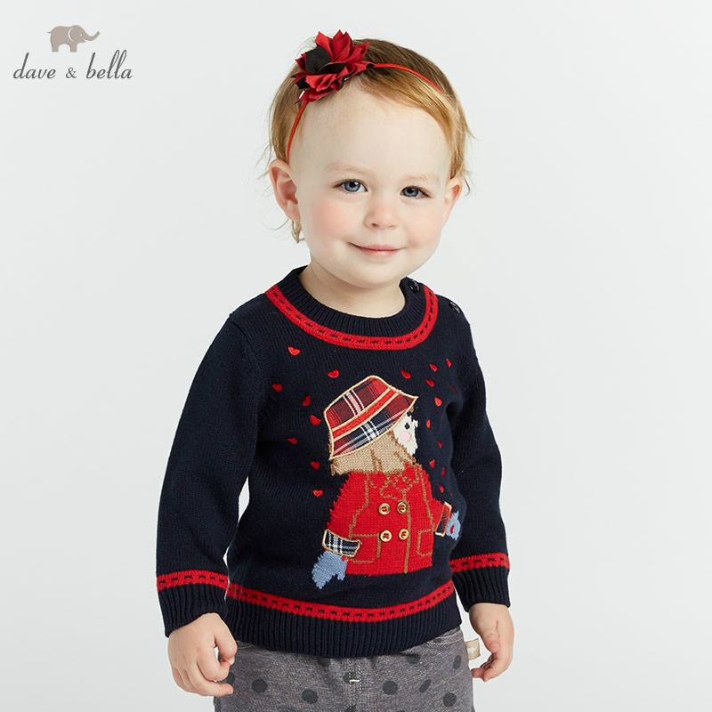 DB8434 dave bella autumn infant baby girls fashion top kids toddler pullover children boutique navy knitted sweater