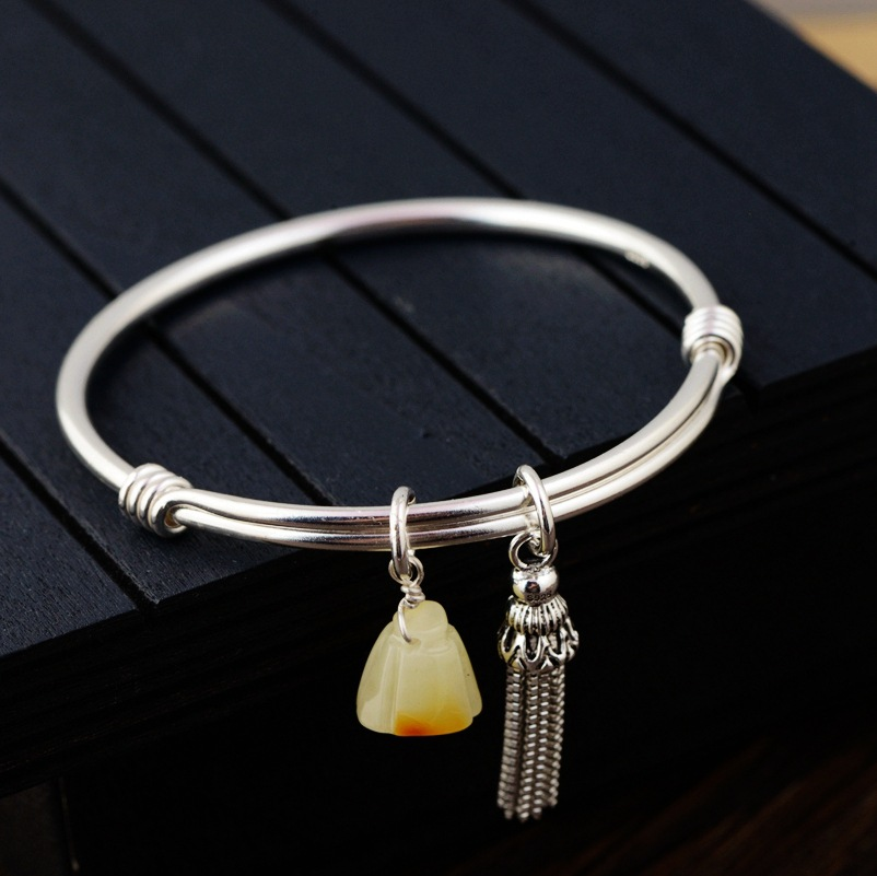 2018 Armbanden Voor Vrouwen Women Bracelet Beeswax Bracelet S925 Inlaid Amber Women Fringe Living Circle Can Be Smoked Pull