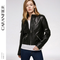 CARANFIER 2017 Women Genuine Leather Jacket Locomotive Short Fashion Top 100 Sheepskin Jacket Stand Casual Coat