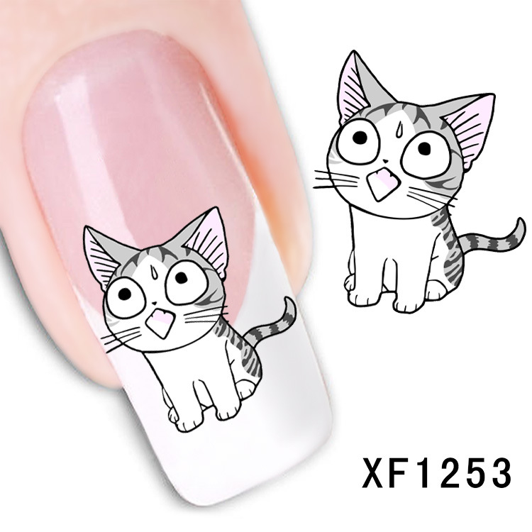 lovely kitten cat design Water Transfer Nails Art Sticker decals girl women manicure tools Nail Wraps Decals wholesale XF1253 24sheets nail sticker cat designs water transfer nails art loveliness cartoon cat gel beauty decal makeup manicure wrap decals