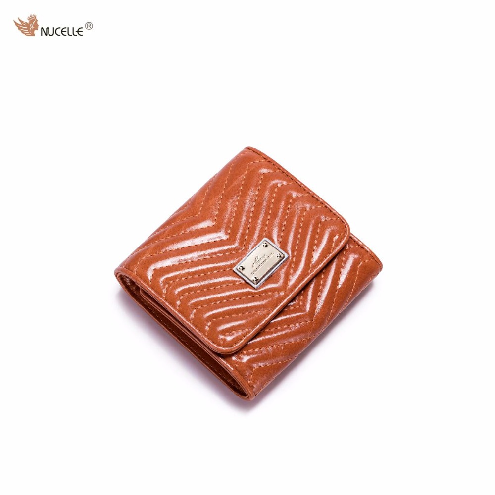 NUCELLE Brand Design Fashion Threads Women Genuine Real Leather Waxy Girls Ladies Small Short Wallets Cards Holder Coin Purses nucelle brand new design french style threads cow leather women lady long wallets clutches cards phone holder