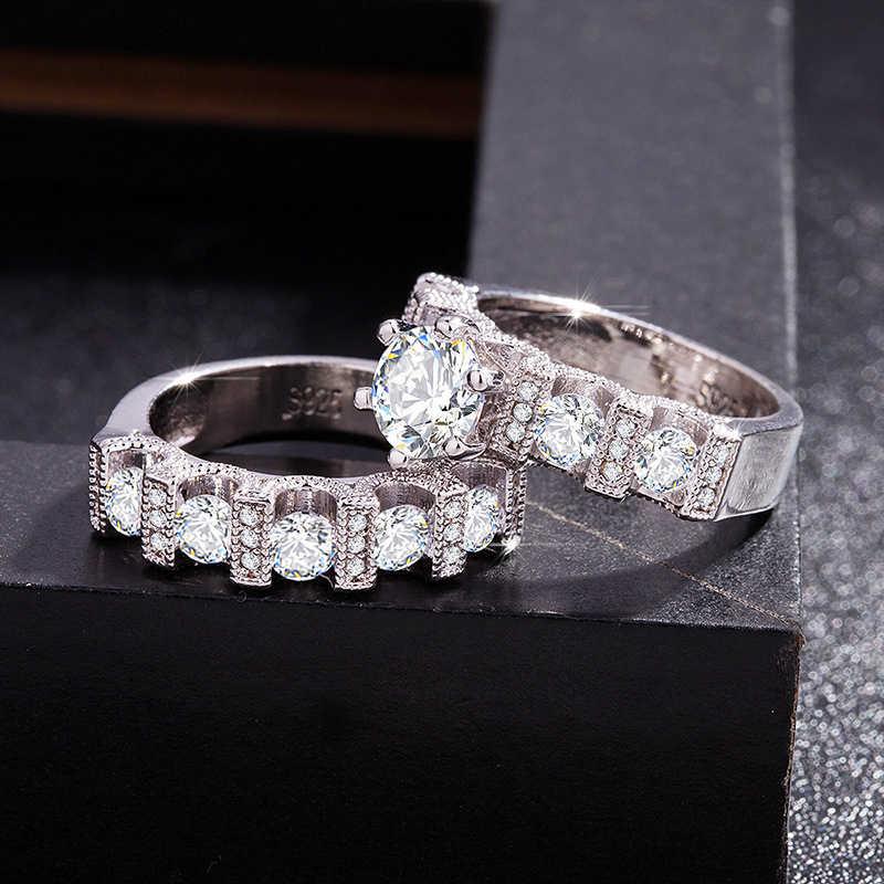 Dames genieten White gold unieke stijl witte kristallen ring, 925 logo prachtige versiering kleine crystal geschikt voor liefhebbers