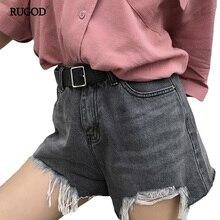 RUGOD 2017 New Fashion Irregular Tassel Denim Shorts Solid Color Women Short High Waist Female  Bottom Short Jeans Femme
