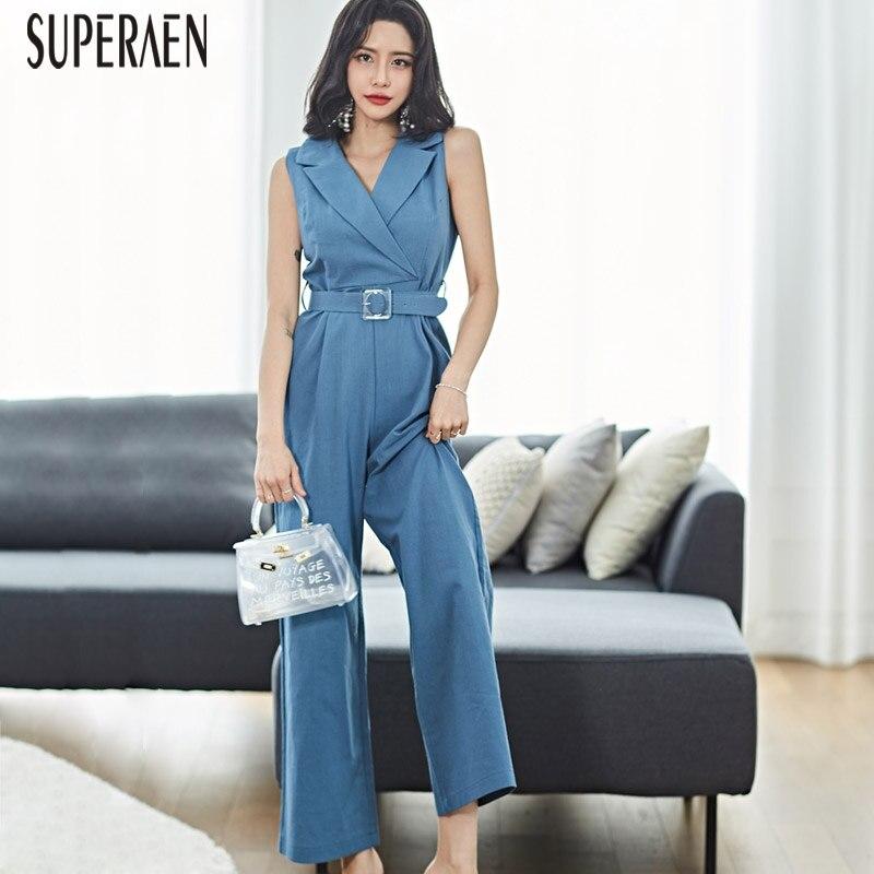 SuperAen 2019 Summer New Sleeveless Jumpsuits Women Korean Style Cotton Temperament Fashion Casual Jumpsuit Female(China)