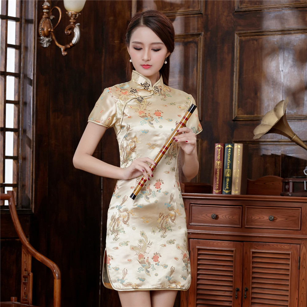 Chinese Vintage Women Cheongsam GOLD Novelty Girl Prom Party Dress Mini Slim Vestidos Traditional Asian Qipao Oversize XXXL