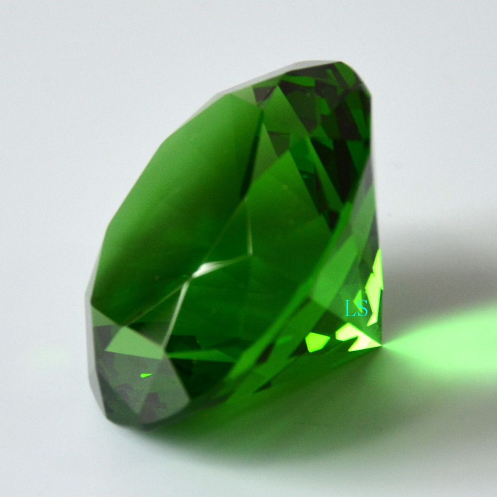Emerald Crystal Green Paperweight Cut Glass Permata Berlian Raksasa Besar 50mm Emerald Isle