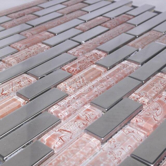 Pink Tile Gl Mosaic Bathroom Tiles Metal Kitchen Backsplash
