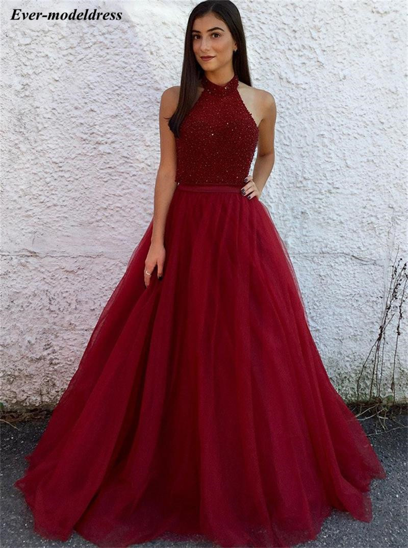 Vintage Dark Red Halter   Prom     Dresses   Long Beaded Sequined Party Occasion   Dresses   2019 vestidos graduacion mujer