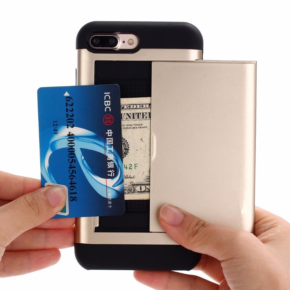 300pcs/Lot Slide Wallet Credit Card Slot Hard PC Phone Case For iPhone 6 6S Plus 7 7Plus Dual Layer TPU Armor Shockproof Case slide wallet