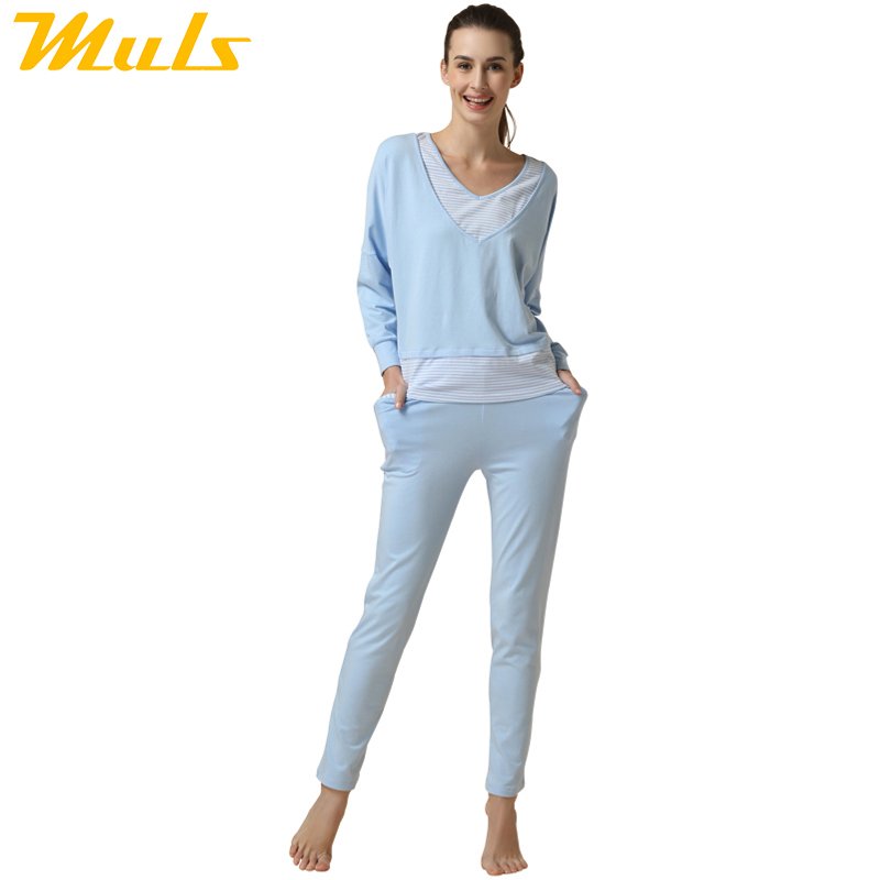 Pijamas Women pretty nightdresses Home cloth blue V-neck Sleepwear Modal Cotton Pajama Set for Girl sleeping gown plus size 1510