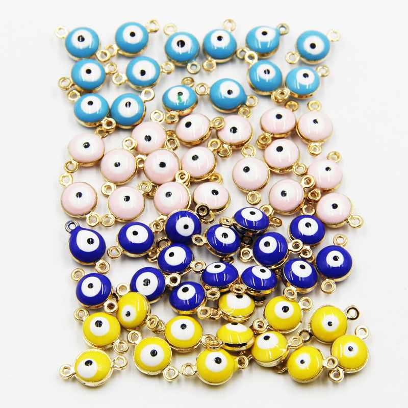 50pcs 12mm Colorful Turkish evil eye Bracelt simple charm bracelet and anklet golden bea ...