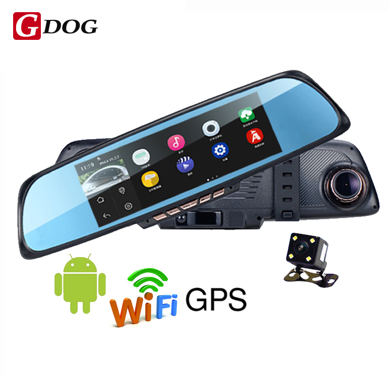 6.86 Touch screen browser 1GB and 16GB Android Mirror Car GPS Navigation DVR dual lens rear camera parking Wi-fi FM Transmit