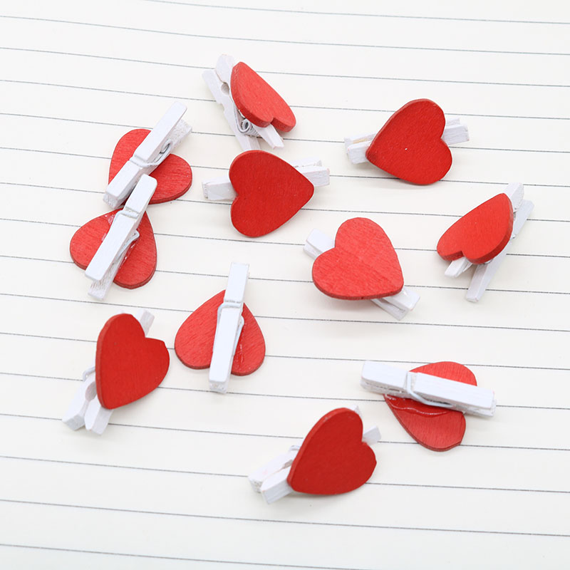 Photo Wooden Clip Creative Mini Red Love Shape Photo Wall Clip Clip Embroidery Craft Wedding Decoration Office Stationery 20pcs