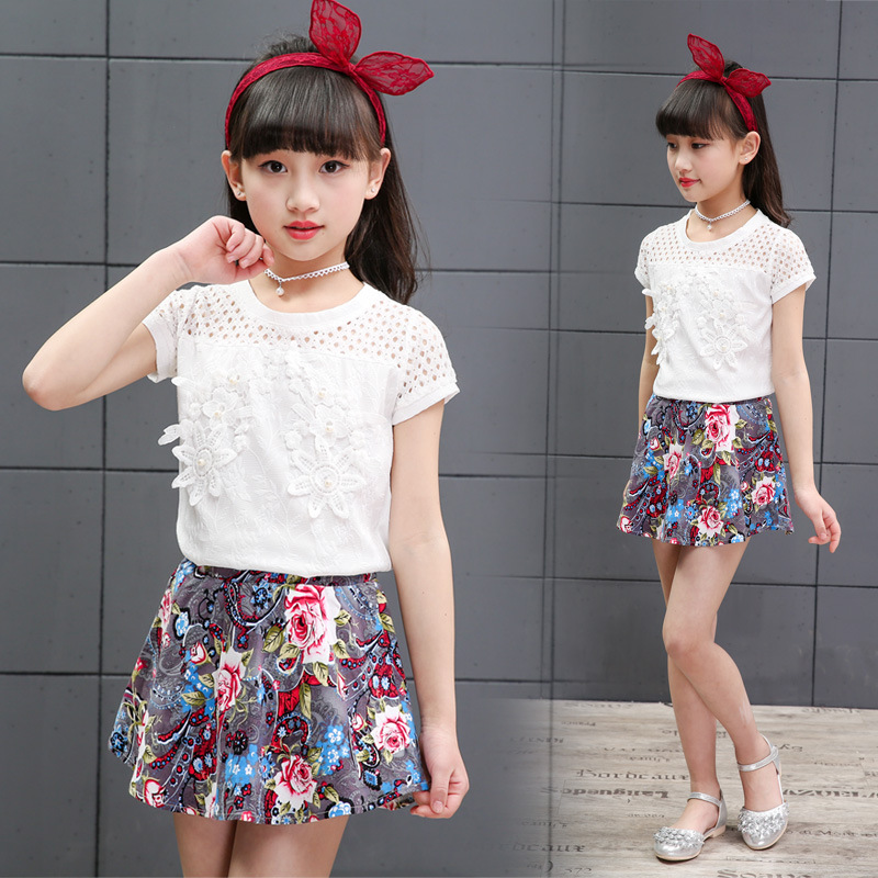 Girls Clothing Sets Short Sleeve White T-Shirts For Fashion Girls Floral Print Skirts 2Pcs Summer Kids Outfits 4 6 8 10 12 Years kids girls summer 2014 new o neck short sleeve floral sports suits fashion print cartoon clothing sets t shirts and pants h2691