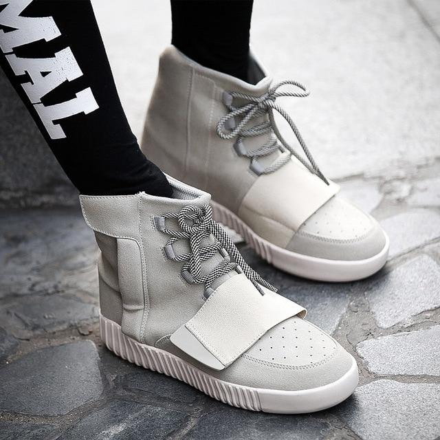 Kanye Высокий верх мужчины тенденция кокосовое обувь причинной обувь запад хип-хоп обувь зашнуровать Дышащий черный серый хорошее quatily