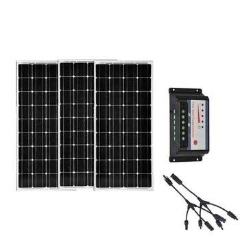 عدة لوحات طاقة شمسية 12 فولت 300 وات 12 قطعة 3 قطعة وحدة تحكم في الشحن بالطاقة الشمسية 12 فولت/24 فولت 30 أمبير 3 في 1-في خلايا شمسية من الأجهزة الإلكترونية الاستهلاكية على