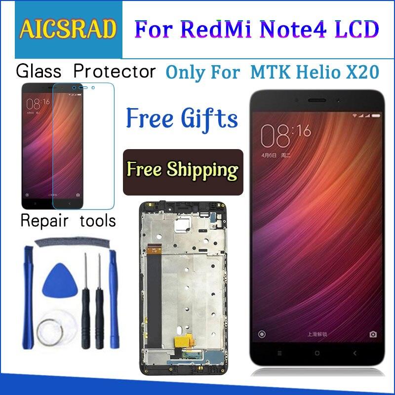 Para Xiaomi Redmi Note 4 pantalla LCD y pantalla táctil con marco de 5,5 pulgadas probado para Xiaomi Redmi Note 4 + herramientas para MTK Helio X20