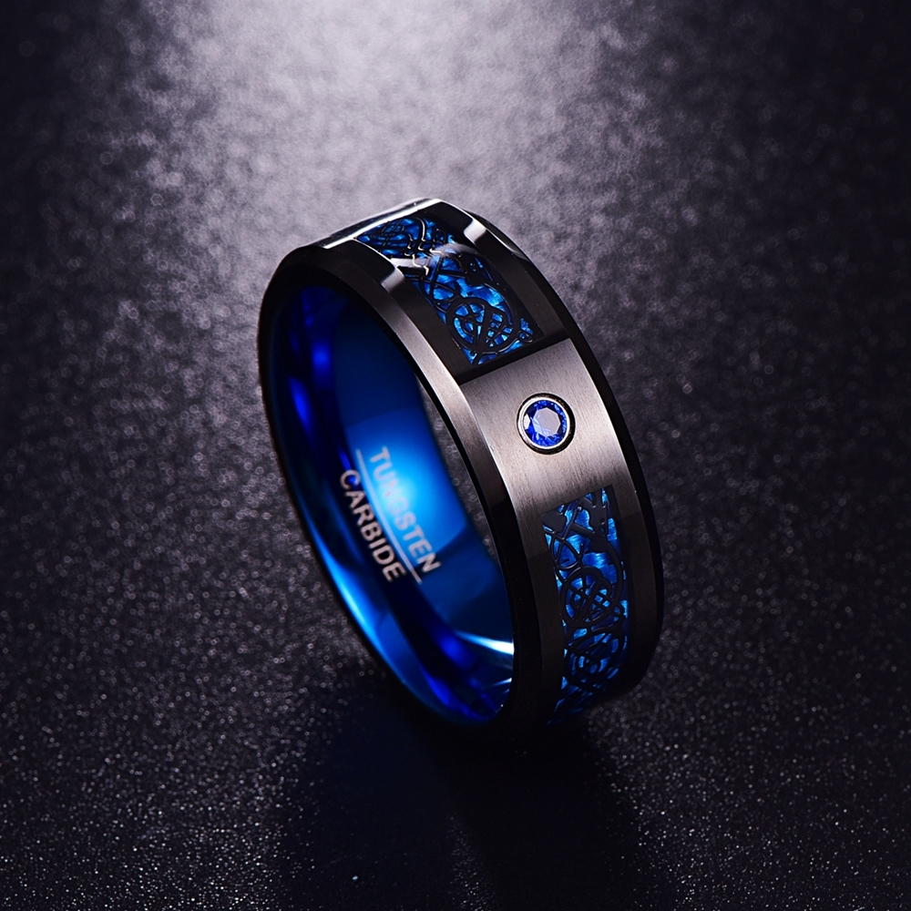 HTB1SmqGbBcXBuNjt biq6xpmpXam - Foreign Trade Carbon Fiber Scrub Blue Zircon Men Rings 100% Tungsten Carbide Anillos para hombres Black Dragon