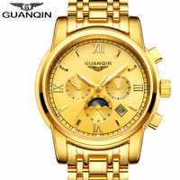 レロジオ Masculino GUANQIN 2017 ブランドトゥールビヨン腕時計自動高級メンズビジネスステンレス鋼メカニカル腕時計を