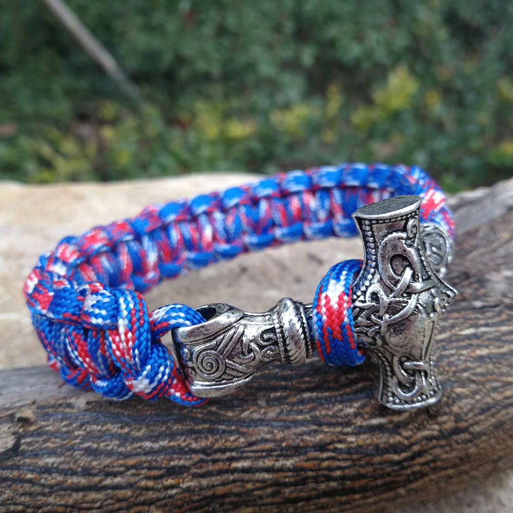 Paracord Bracelet Replaceable Norse Viking Runes Beads Braided Bracelet Men Bracelets Thor Hammer Rope Bangles for Men Jewelry