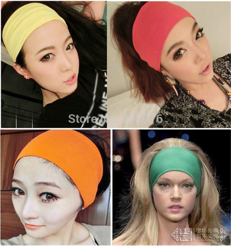 Creative Women girl Candy solid Color Wide Yoga Headband Stretch Cotton Hairband Elastic Hair Bands Turban