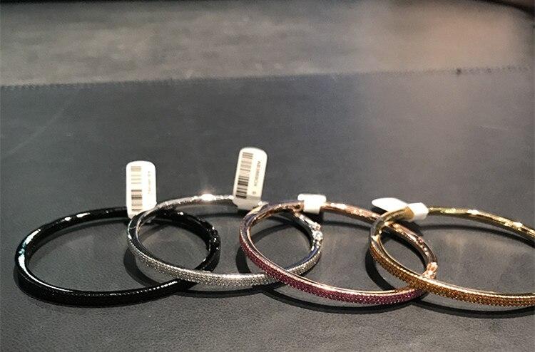 Pur bijoux en argent sterling S925 bracelet zircon complet pour les femmes monaco noir rouge orange rose cristal trois couches cz bracelet