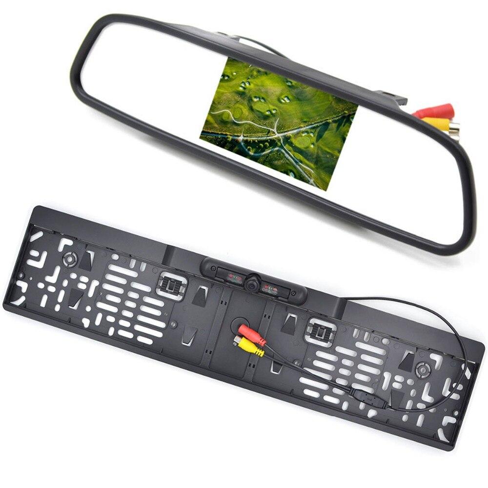 4.3 Pouce LCD De Voiture Moniteur RU Européenne Cadre de Plaque D'immatriculation arrière Vue Caméra IR Lumière nigh vision caméra de recul rétroviseur miroir