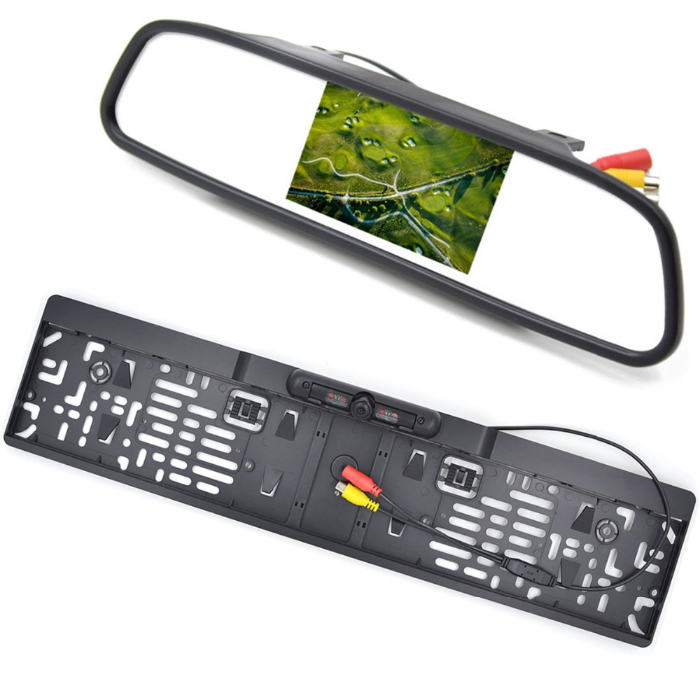 4.3 Inch LCD Car Monitor RU European License Plate Frame Rear View Camera IR Light nigh vision reverse camera rearview mirror