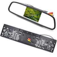 Monitor de coche LCD de 4,3 pulgadas RU Marco de matrícula europea cámara de visión trasera IR luz cámara de marcha atrás Monitor de espejo retrovisor