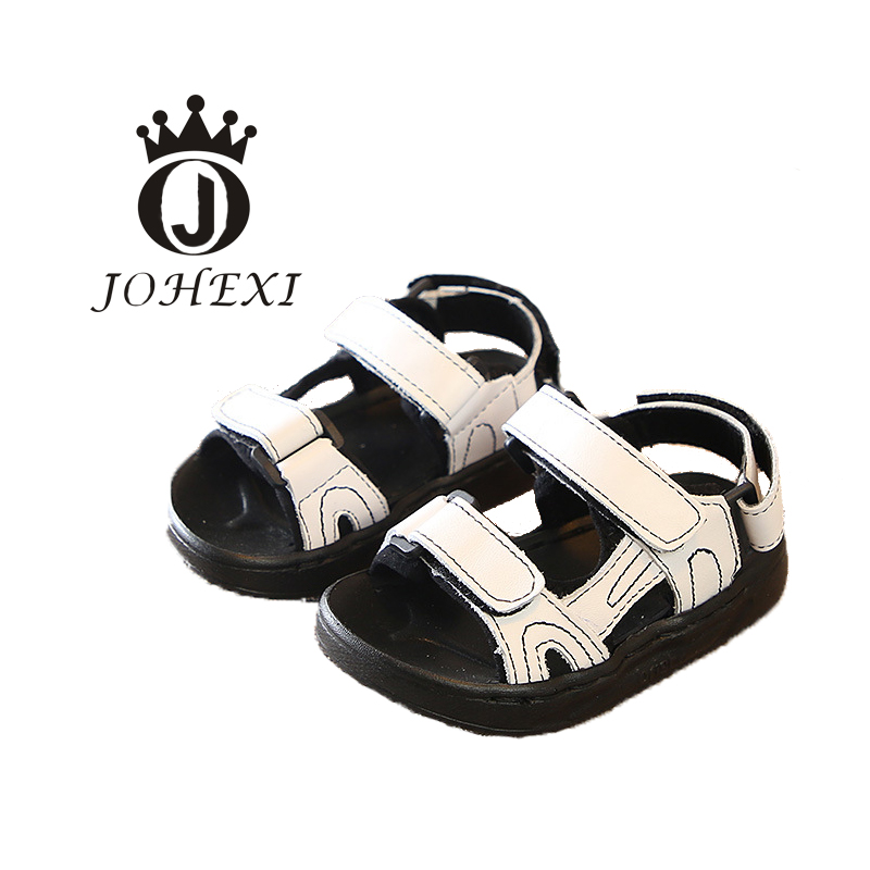 JOHEXI Fashion Girl/Boy Child Sandals Shoe Hook&Loop Black/White/Pink Anti-Slippery Wear-resistant Breathable Leather 14-18.5 CM