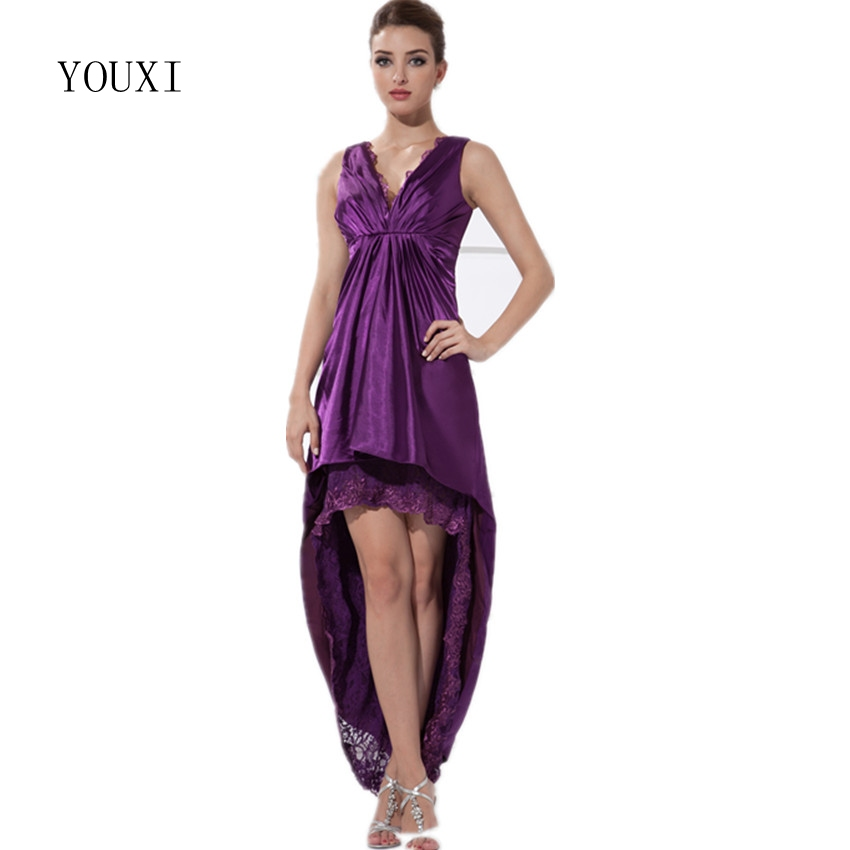 Sexy V-Neck High Low   Prom     Dresses   2019 New Design Purple Elastic Satin Lace Short Cocktail Party   Dress