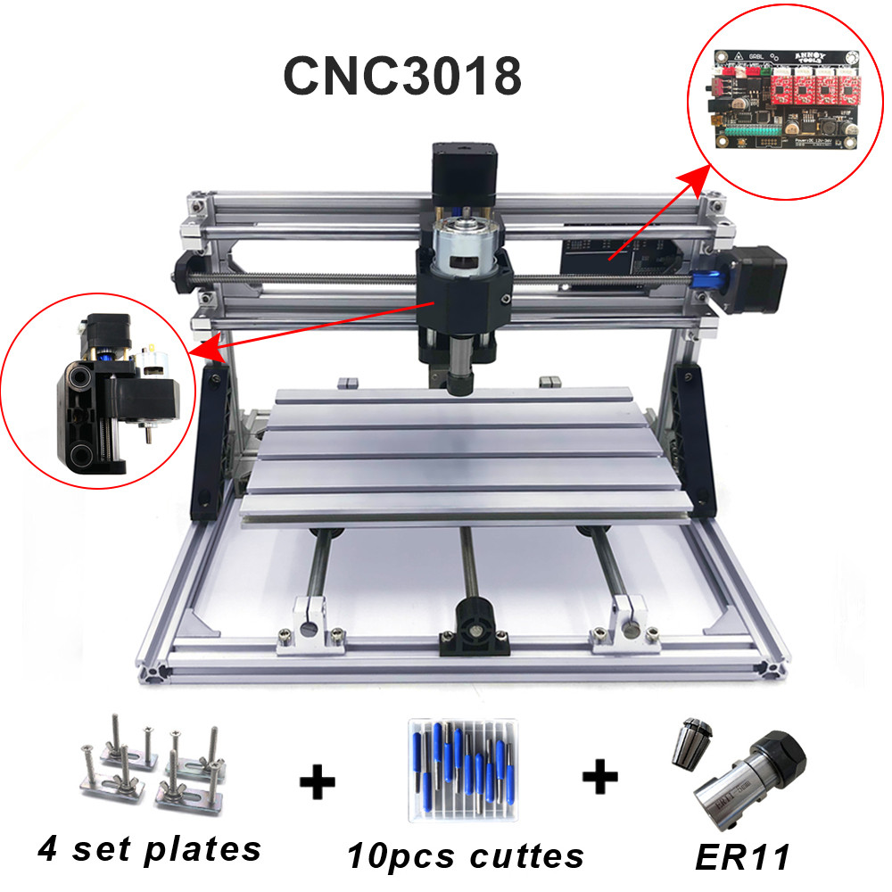 CNC 3018 avec ER11, machine de gravure de CNC, fraiseuse de carte Pcb, Machine de sculpture sur bois, mini routeur de CNC, CNC 2418, meilleurs jouets avancés