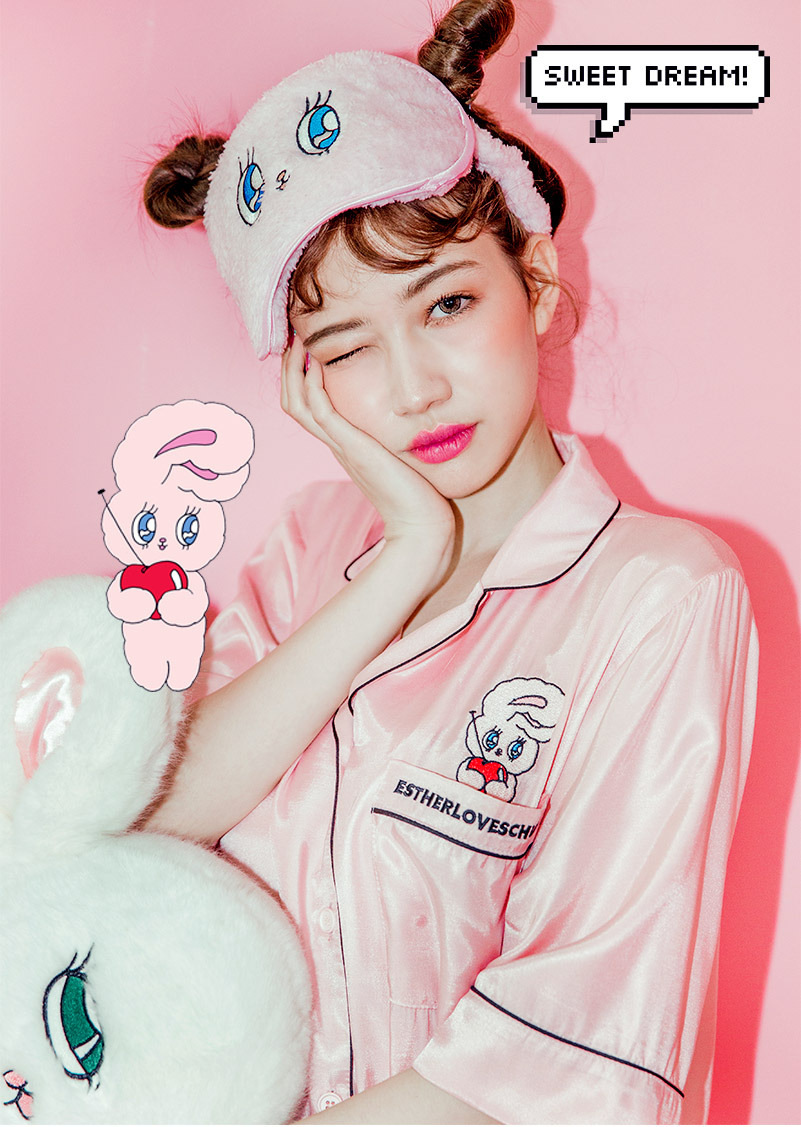 2017 CUTE Harajuku Kawaii Chuu Esther Loves Bunny Rabbit Pocket Loose Onesize Pajamas Nightgown Eye shade Eyemask cosplay