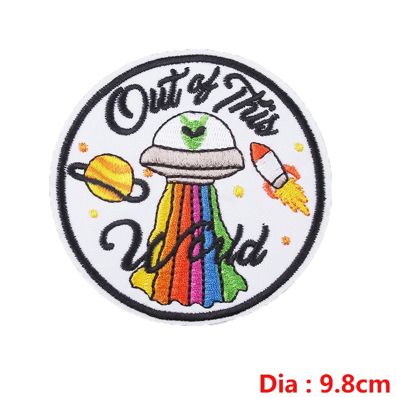 Pulaqi 2019 New alien UFO punk badge patches embroidery applique garment accessories for jeans sew on iron on heat transfers F in Patches from Home Garden