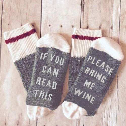 2018 fashion Winter if you can read this bring me a glass of wine sock Unisex happy socks christmas kawaii funny sock Light Gray