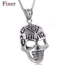 Gothic Punk Skull Black Silver Tone Necklace Pendant  Personalized  316L Stainless Steel Mens Boys Jewelry