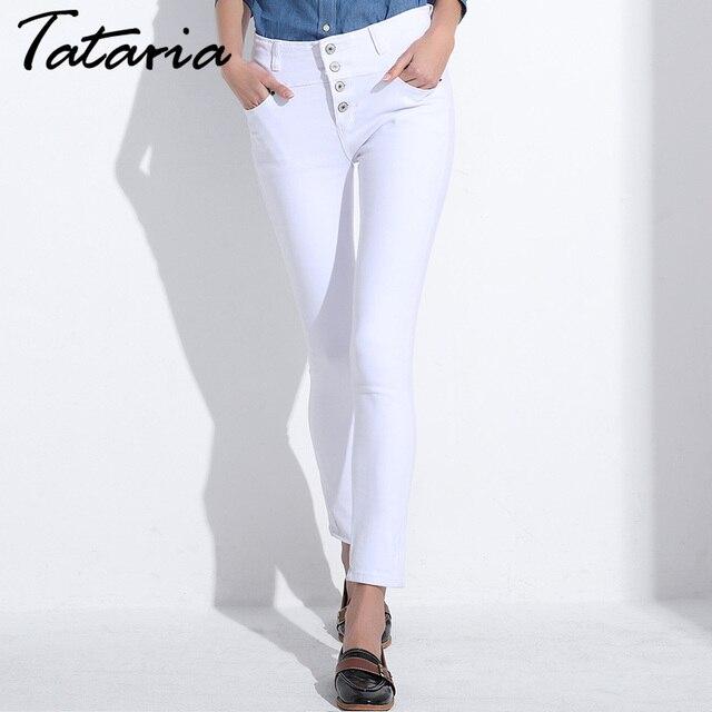 66d21e73b9d White Jeans Women Skinny Female Slim Pencil Pants Ladies Denim High Waist  Jeans Woman Pantalon Jean Mujer Calca Feminina TATARIA