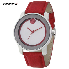 2016 Moda de NUEVA Marca Sinobi S8102 de pulsera, de las mujeres De Moda de Cuarzo Analógico Reloj de pulsera con Banda De Cuero De Imitación (rojo)