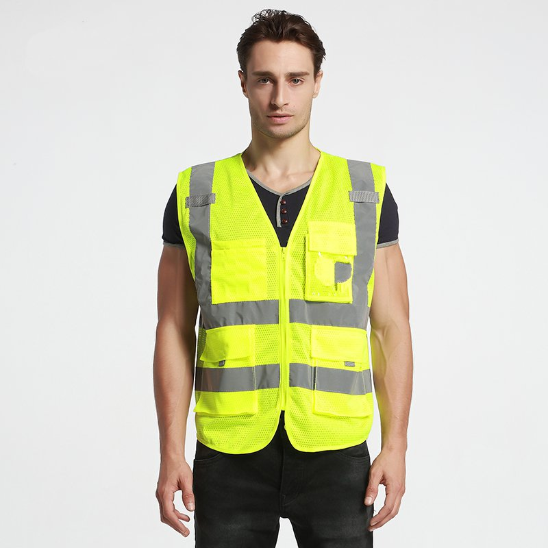 Multi -grade mesh pockets Construction Highways riding safety reflective vest traffic vest can print oumily reflective multi purpose paracord nylon rope cord reflective grey 30m 140kg