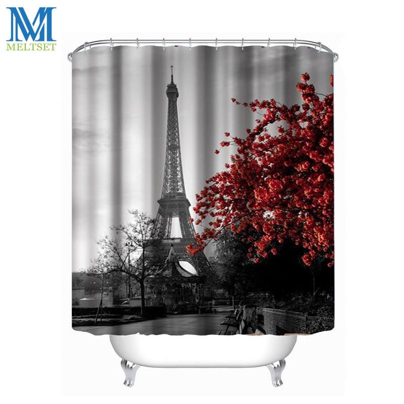 Eiffel Tower Waterproof Bathroom Shower Curtain Fabric Scenery Curtains  Polyester Bath Curtain(China (Mainland