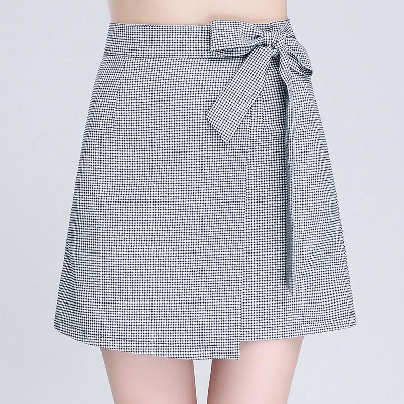 Spring Skirts Womens 2017 Fall Autumn New Design Fashion Girl Plus Size Zipper High Waist Short Mini Lace-Up Plaid Pleated Skirt