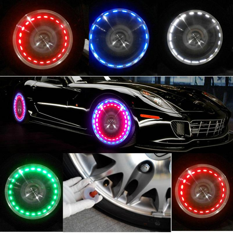 Accessories Energetic New Fashion Auto Accessories Bike Supplies Neon Blue Strobe Led Tire Valve Caps Car-styling Accessories Wholesale #30