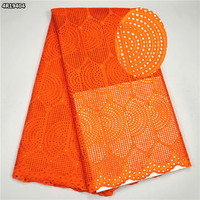 2017 African voile lace fabric High class africa swiss dry lace fabric cotton swiss lace for party dress Orange (5 yards) 4R194