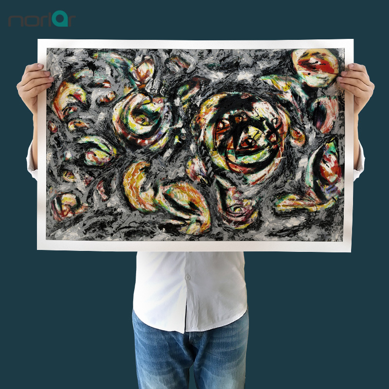 JACKSON POLLOCK OCEAN GREYNESS PAINT RE PRINT ON FRAMED CANVAS WALL ART